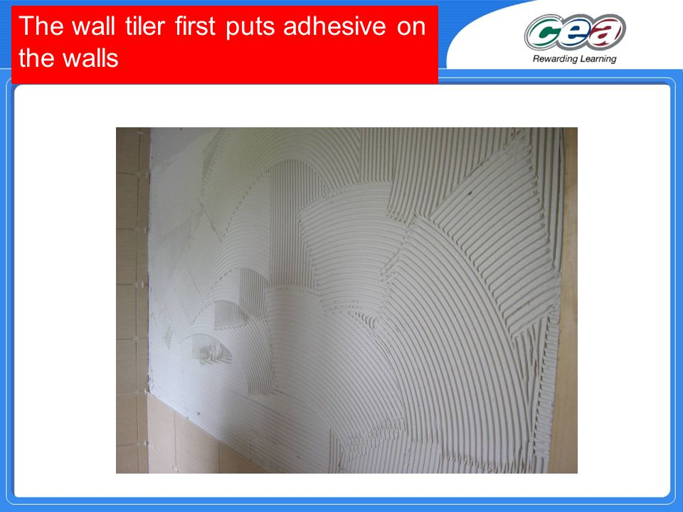 The wall tiler first puts adhesive on the walls