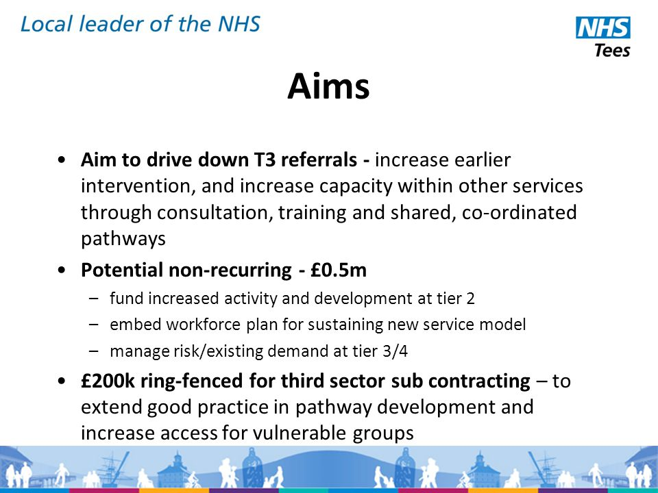Aims Aim to drive down T3 referrals - increase earlier intervention, and increase capacity within other services through consultation, training and shared, co-ordinated pathways Potential non-recurring - £0.5m –fund increased activity and development at tier 2 –embed workforce plan for sustaining new service model –manage risk/existing demand at tier 3/4 £200k ring-fenced for third sector sub contracting – to extend good practice in pathway development and increase access for vulnerable groups