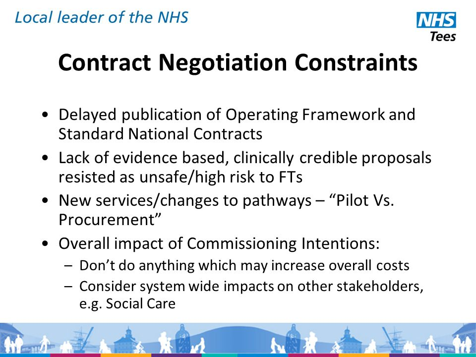 Contract Negotiation Constraints Delayed publication of Operating Framework and Standard National Contracts Lack of evidence based, clinically credible proposals resisted as unsafe/high risk to FTs New services/changes to pathways – Pilot Vs.