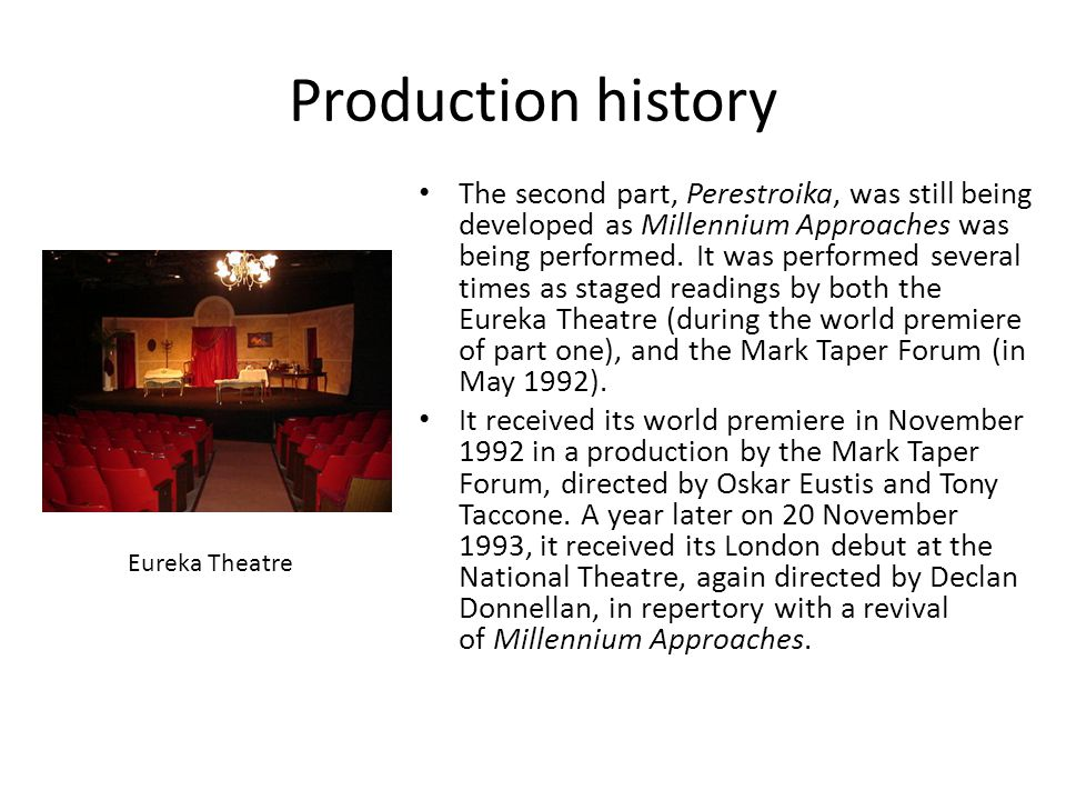 Production history The second part, Perestroika, was still being developed as Millennium Approaches was being performed.