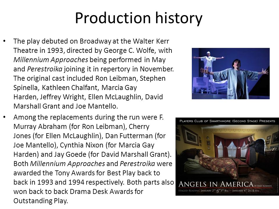 Production history The play debuted on Broadway at the Walter Kerr Theatre in 1993, directed by George C.