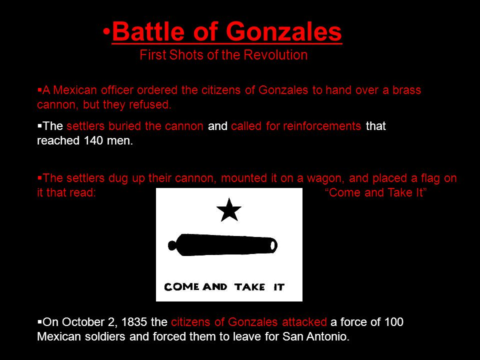 Battle of Gonzales First Shots of the Revolution  A Mexican officer ordered the citizens of Gonzales to hand over a brass cannon, but they refused.
