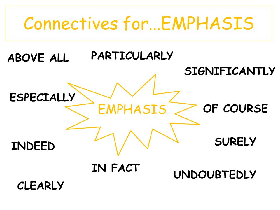 Connectives for...EMPHASIS EMPHASIS ABOVE ALL ESPECIALLY PARTICULARLY SIGNIFICANTLY INDEED OF COURSE IN FACT SURELY CLEARLY UNDOUBTEDLY