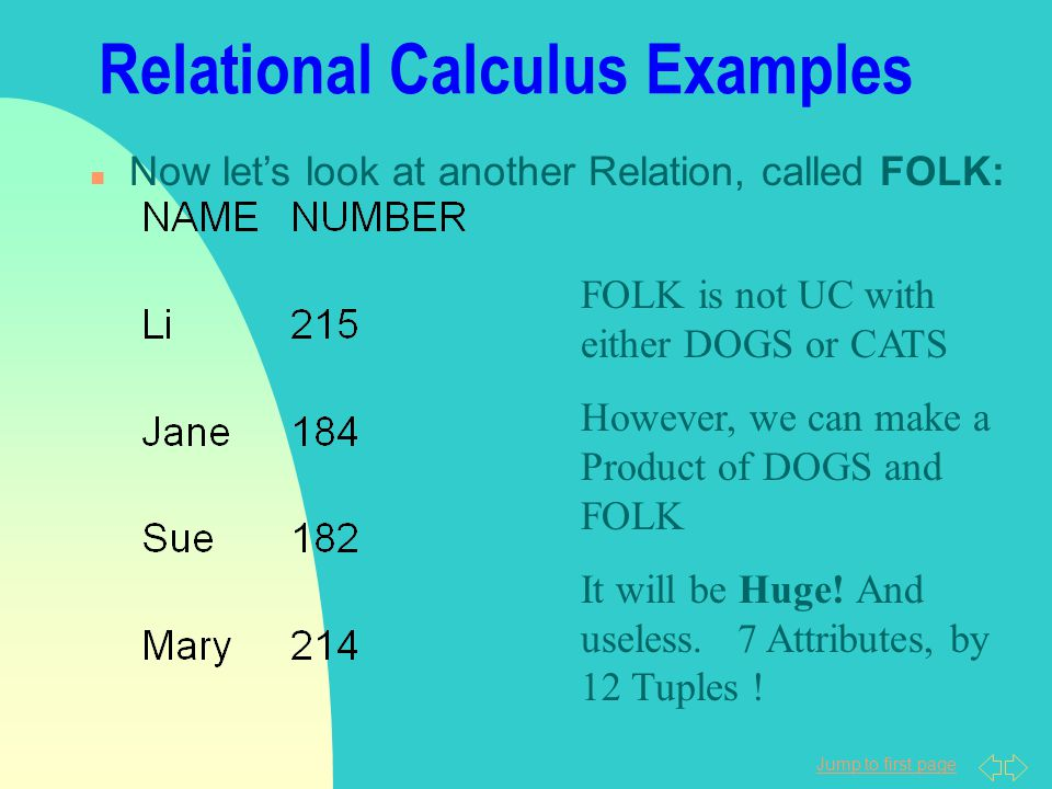 Jump to first page Relational Calculus Examples n Now let's look at another Relation, called FOLK: FOLK is not UC with either DOGS or CATS However, we