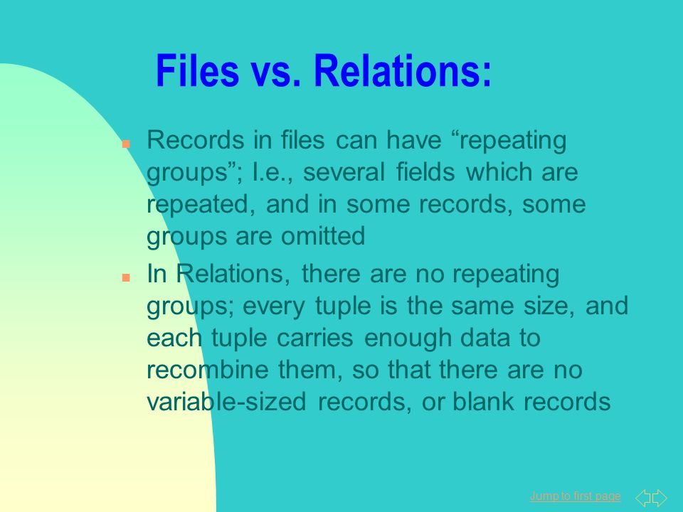 """Jump to first page Files vs. Relations: n Records in files can have """"repeating groups""""; I.e., several fields which are repeated, and in some records,"""