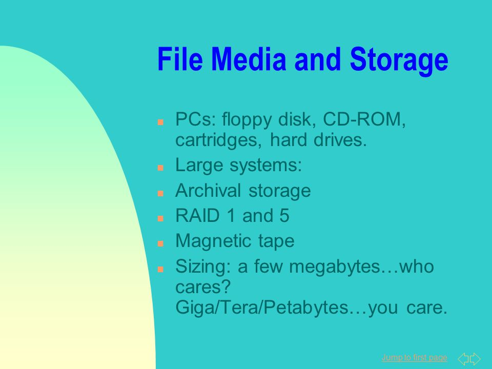 Jump to first page File Media and Storage n PCs: floppy disk, CD-ROM, cartridges, hard drives.