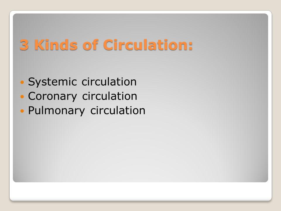 3 Kinds of Circulation: Systemic circulation Coronary circulation Pulmonary circulation