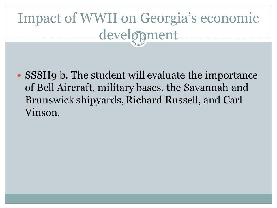 Impact of WWII on Georgia's economic development SS8H9 b.