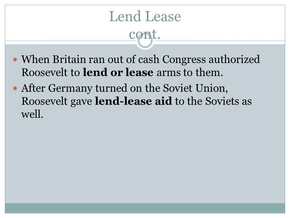 Lend Lease cont.