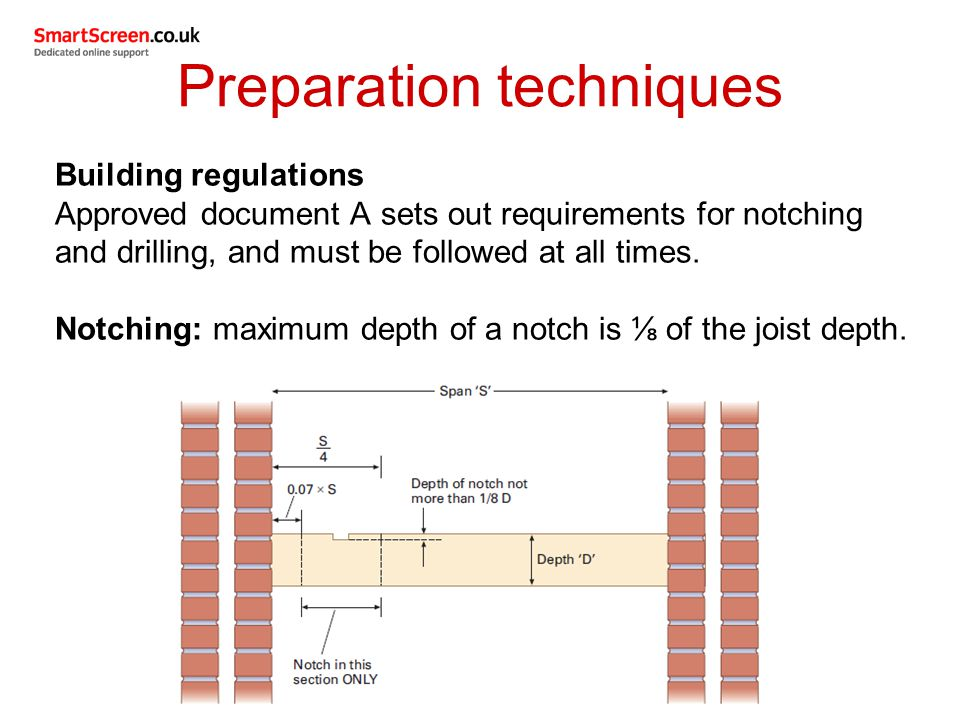 Preparation techniques Example for notching A joist is 200mm deep (D) and has a span of 2.5m (S).