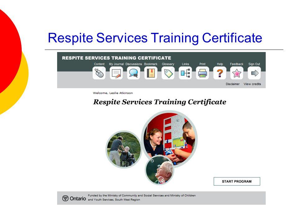 Respite Services Training Certificate