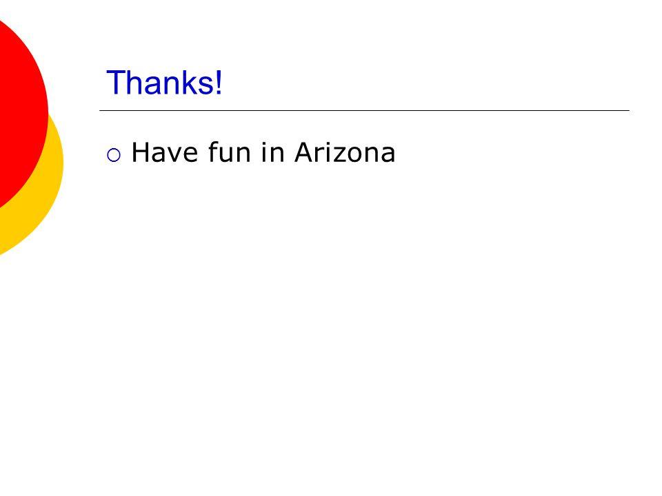 Thanks!  Have fun in Arizona