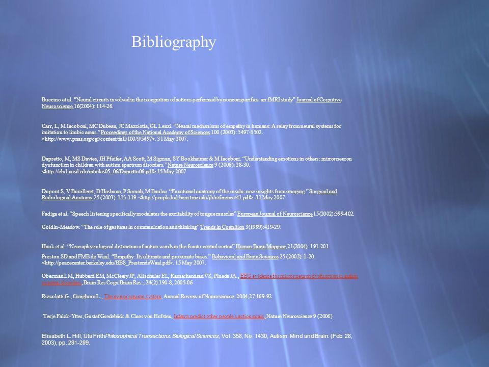 Bibliography Buccino et al.