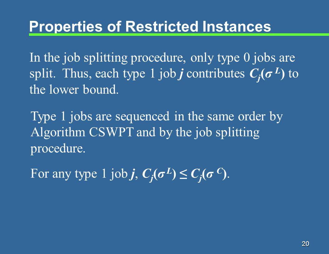 20 Properties of Restricted Instances In the job splitting procedure, only type 0 jobs are split.