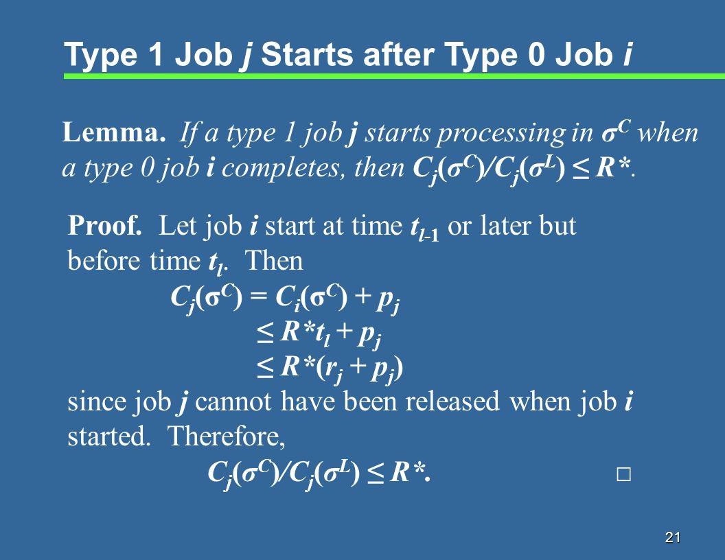 21 Type 1 Job j Starts after Type 0 Job i Lemma.