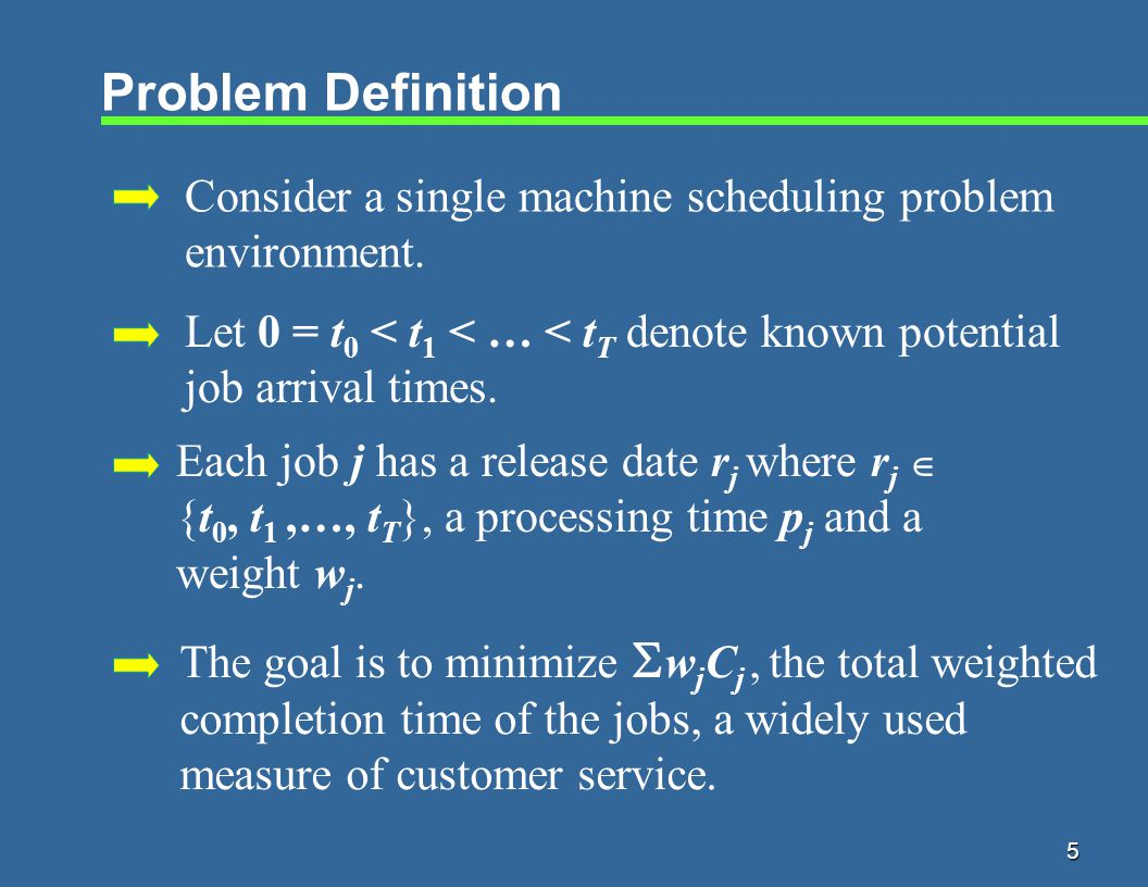 5 Problem Definition Consider a single machine scheduling problem environment.