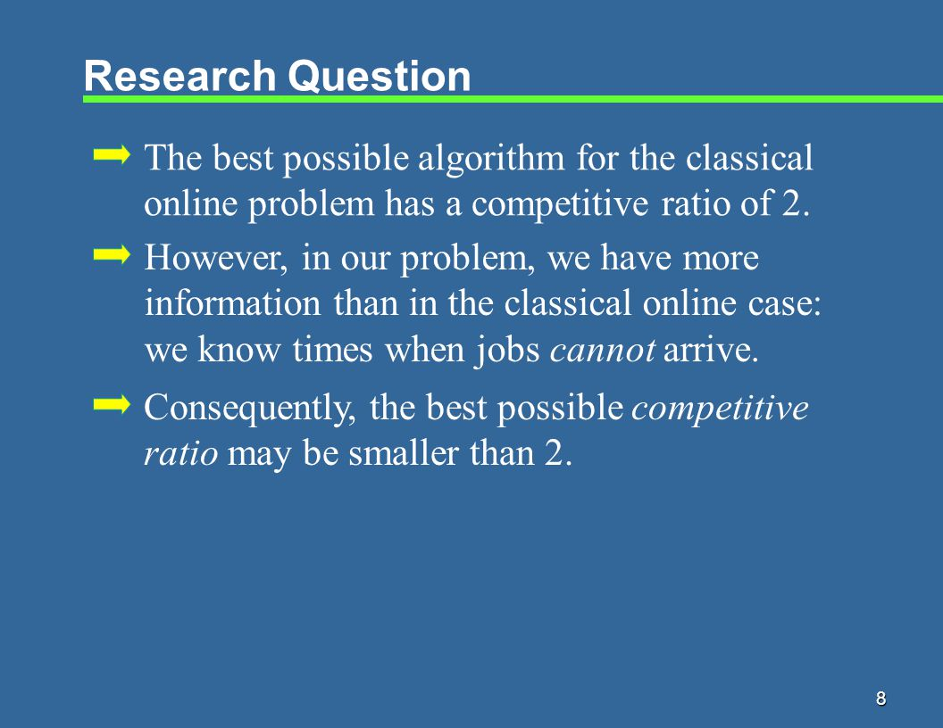 8 Research Question The best possible algorithm for the classical online problem has a competitive ratio of 2.