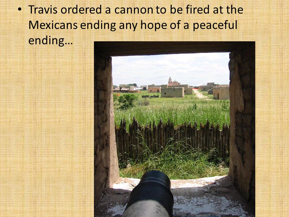Travis ordered a cannon to be fired at the Mexicans ending any hope of a peaceful ending…