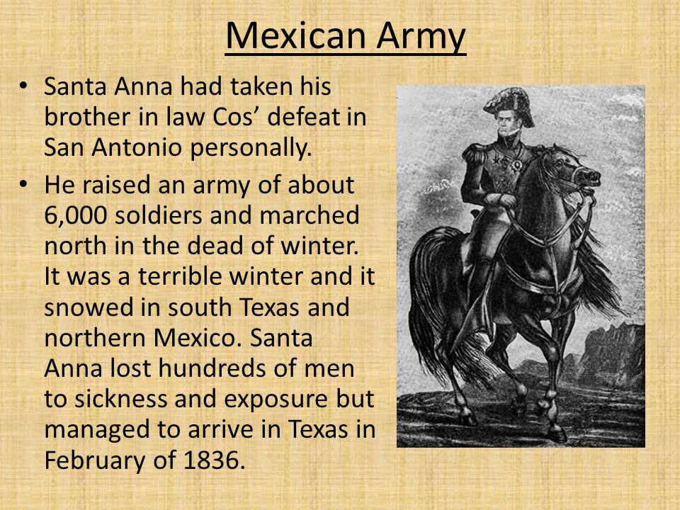 Mexican Army Santa Anna had taken his brother in law Cos' defeat in San Antonio personally.