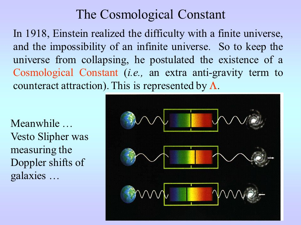 The Cosmological Constant In 1918, Einstein realized the difficulty with a finite universe, and the impossibility of an infinite universe.