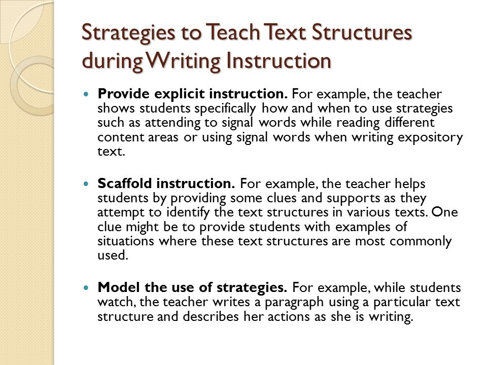 Strategies to Teach Text Structures during Writing Instruction Provide explicit instruction.