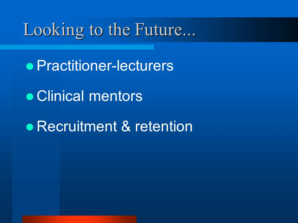 Looking to the Future... Practitioner-lecturers Clinical mentors Recruitment & retention