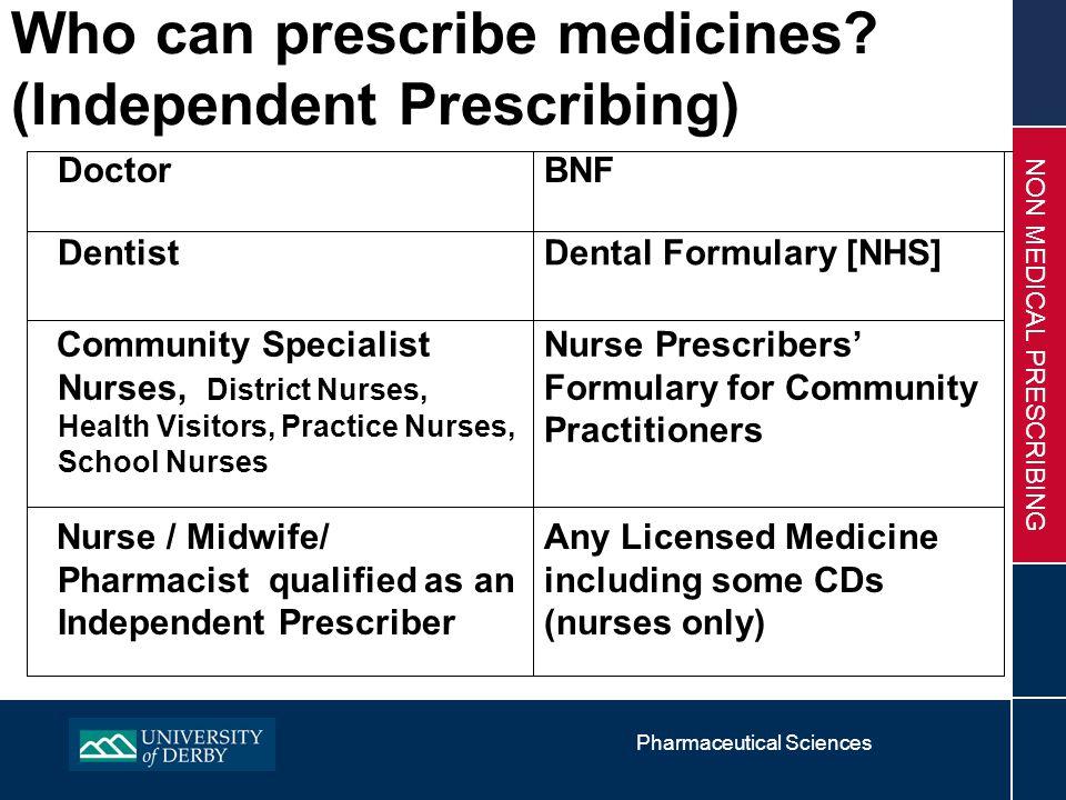 Pharmaceutical Sciences NON MEDICAL PRESCRIBING Who can prescribe medicines.