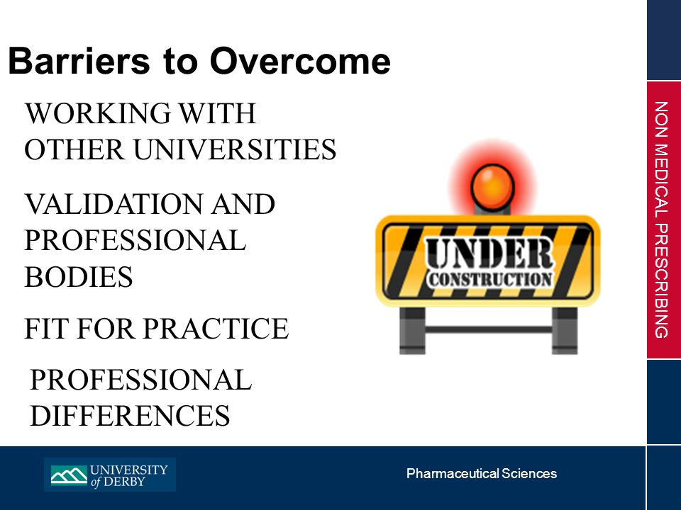 Pharmaceutical Sciences NON MEDICAL PRESCRIBING Barriers to Overcome WORKING WITH OTHER UNIVERSITIES VALIDATION AND PROFESSIONAL BODIES FIT FOR PRACTICE PROFESSIONAL DIFFERENCES