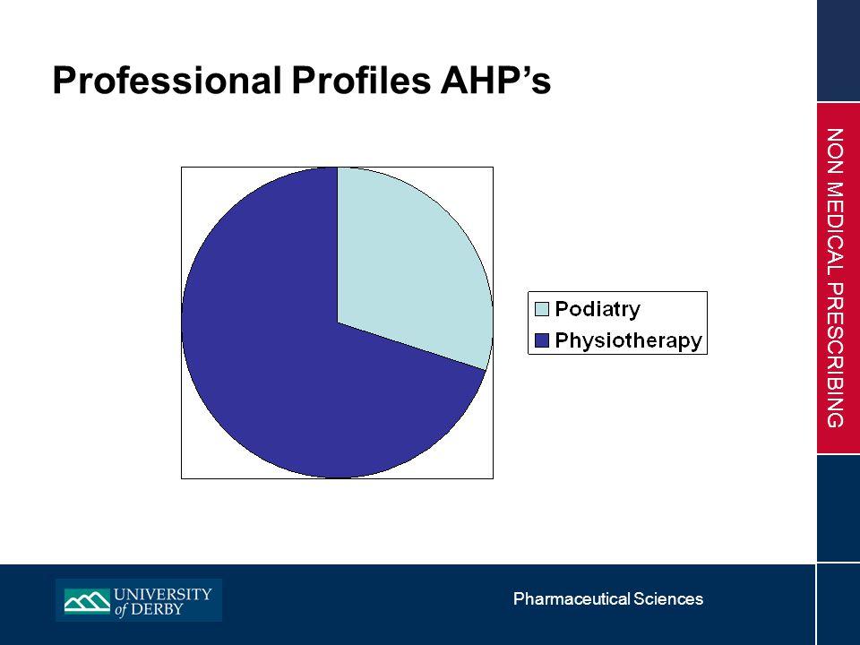 Pharmaceutical Sciences NON MEDICAL PRESCRIBING Professional Profiles AHP's