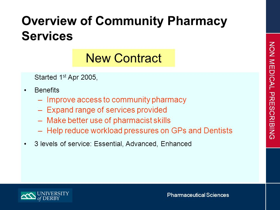 Pharmaceutical Sciences NON MEDICAL PRESCRIBING Professional Profiles Pharmacists