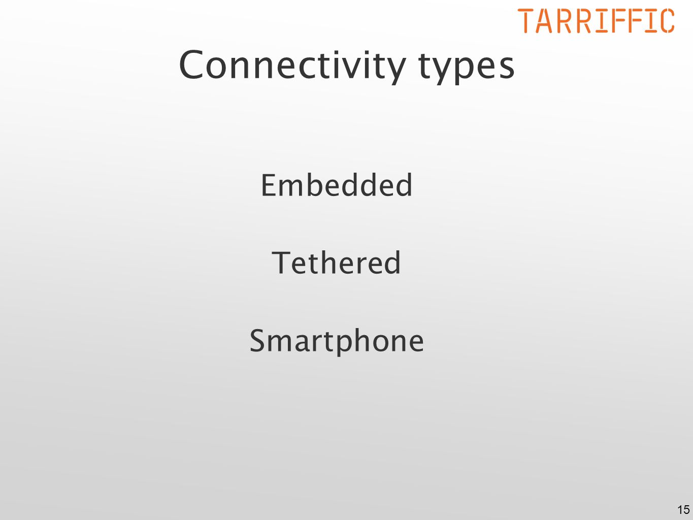 15 Connectivity types Embedded Tethered Smartphone