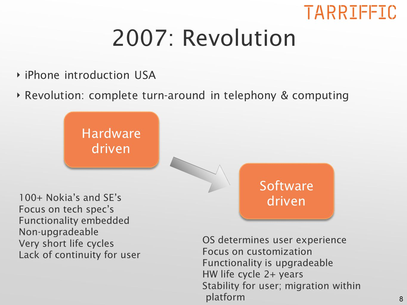 8 ‣ iPhone introduction USA ‣ Revolution: complete turn-around in telephony & computing 2007: Revolution Hardware driven Software driven 100+ Nokia's and SE's Focus on tech spec's Functionality embedded Non-upgradeable Very short life cycles Lack of continuity for user OS determines user experience Focus on customization Functionality is upgradeable HW life cycle 2+ years Stability for user; migration within platform