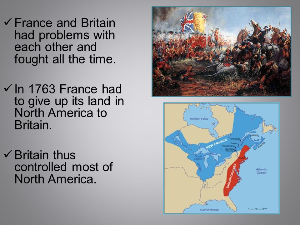 Most of the British colonies were in what is now the United States.