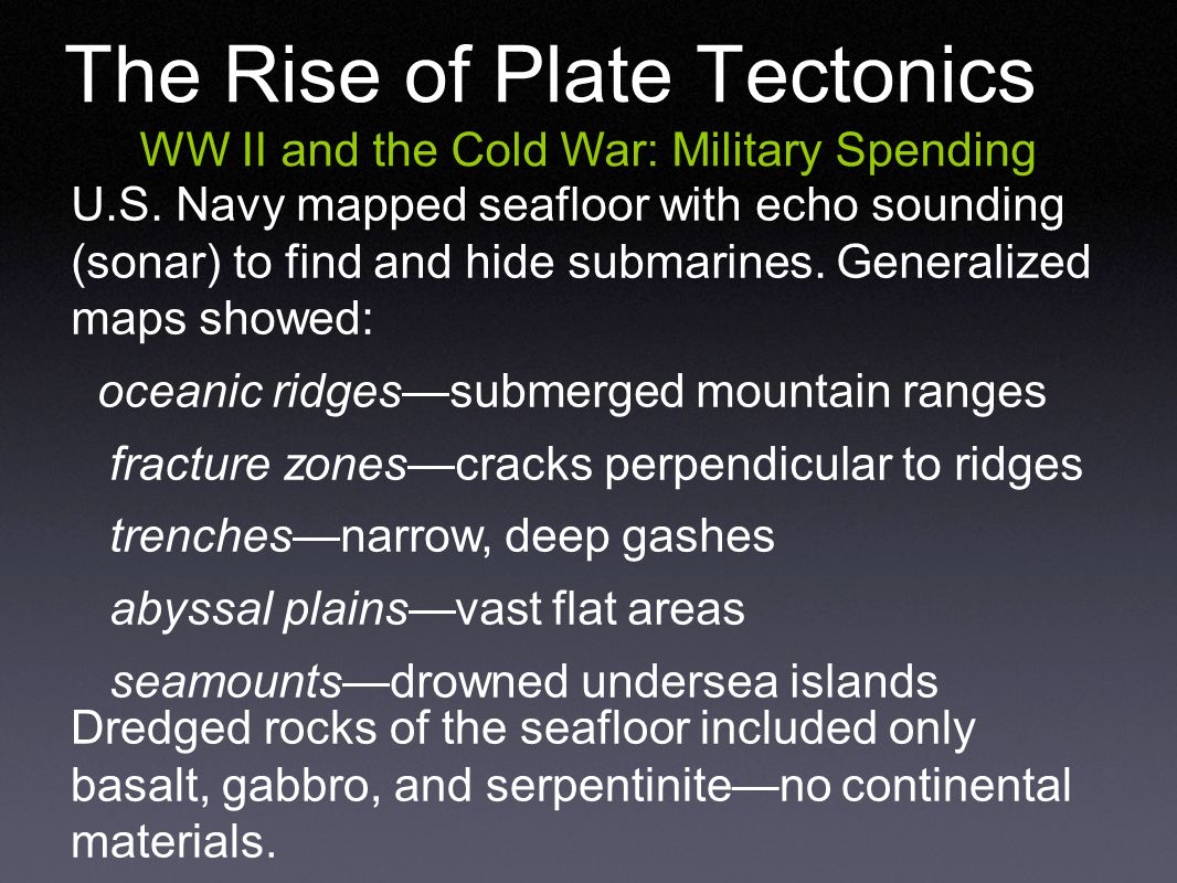 The Rise of Plate Tectonics WW II and the Cold War: Military Spending U.S.