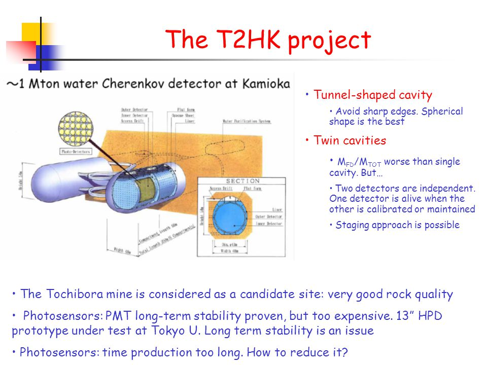 The T2HK project Tunnel-shaped cavity Avoid sharp edges.