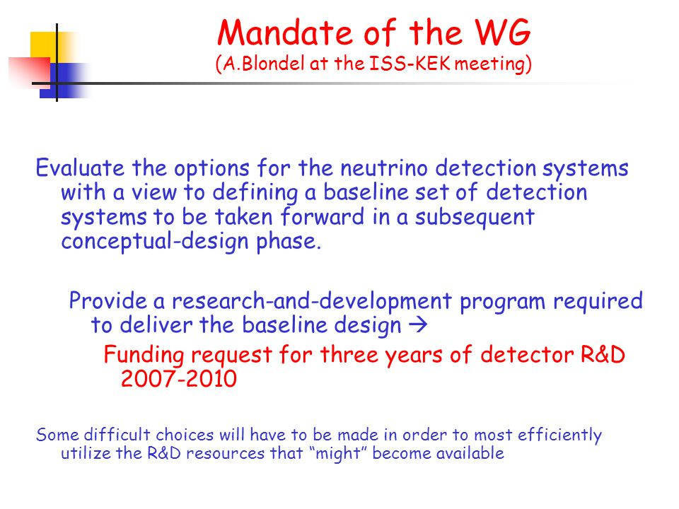 An ideal detector for a NuFact should Identify and measure the charge of the muon ( golden channel ) with high accuracy Identify and measure the charge of the electron with high accuracy ( time reversal of the golden channel ) Identify the  decays ( silver channel ) Measure the complete kinematics of an event in order to increase the signal/back ratio A magnetic field is needed.
