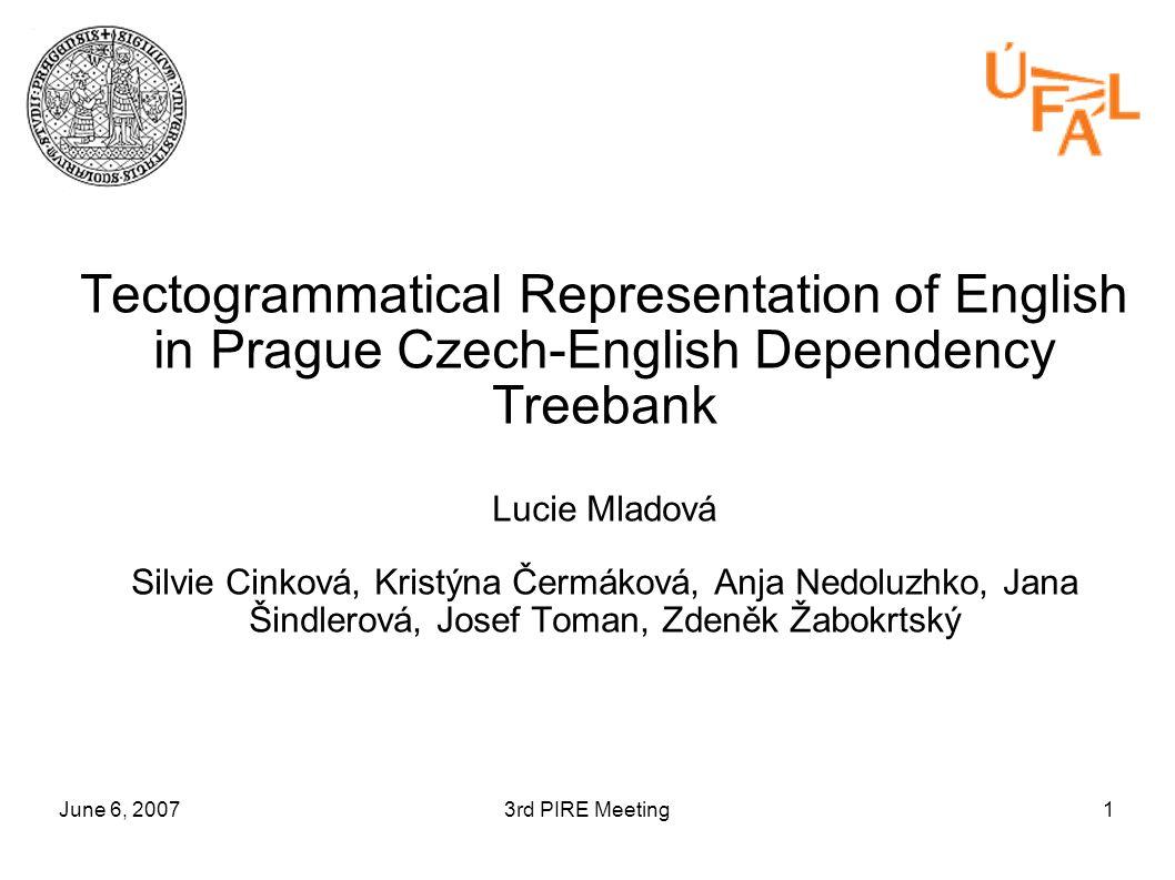 June 6, 20073rd PIRE Meeting1 Tectogrammatical Representation of English in Prague Czech-English Dependency Treebank Lucie Mladová Silvie Cinková, Kristýna Čermáková, Anja Nedoluzhko, Jana Šindlerová, Josef Toman, Zdeněk Žabokrtský