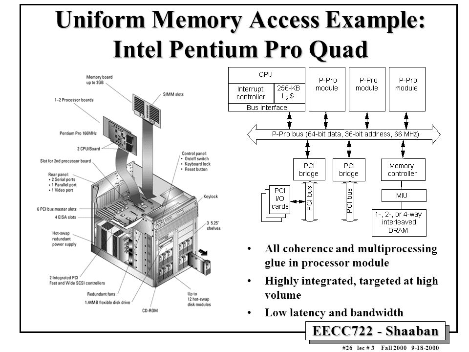 EECC722 - Shaaban #26 lec # 3 Fall 2000 9-18-2000 Uniform Memory Access Example: Intel Pentium Pro Quad All coherence and multiprocessing glue in proc