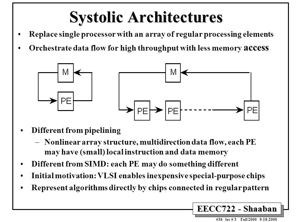 EECC722 - Shaaban #36 lec # 3 Fall 2000 9-18-2000 Systolic Architectures Replace single processor with an array of regular processing elements Orchest