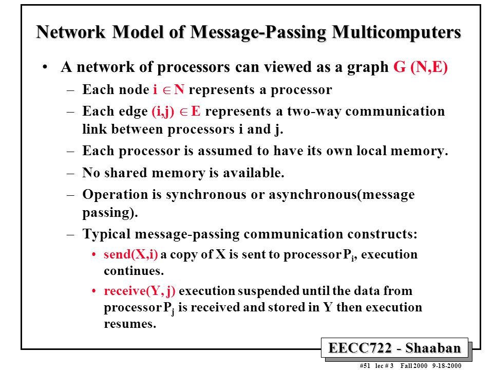 EECC722 - Shaaban #51 lec # 3 Fall 2000 9-18-2000 Network Model of Message-Passing Multicomputers A network of processors can viewed as a graph G (N,E