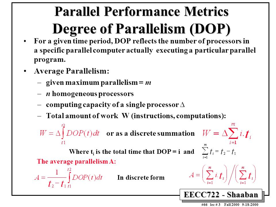 EECC722 - Shaaban #66 lec # 3 Fall 2000 9-18-2000 Parallel Performance Metrics Degree of Parallelism (DOP) For a given time period, DOP reflects the n