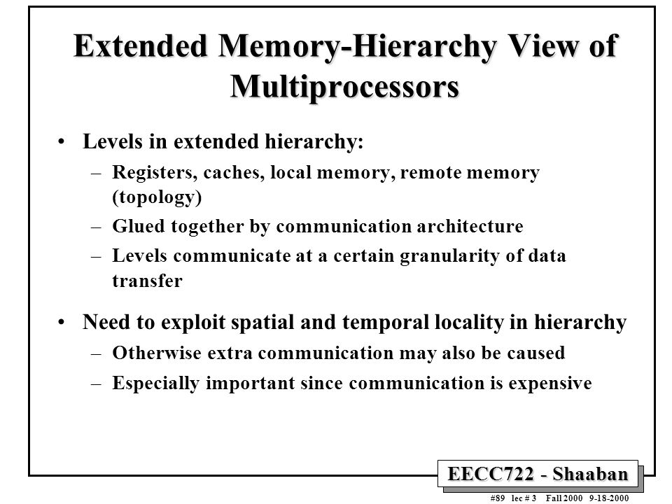 EECC722 - Shaaban #89 lec # 3 Fall 2000 9-18-2000 Extended Memory-Hierarchy View of Multiprocessors Levels in extended hierarchy: –Registers, caches,