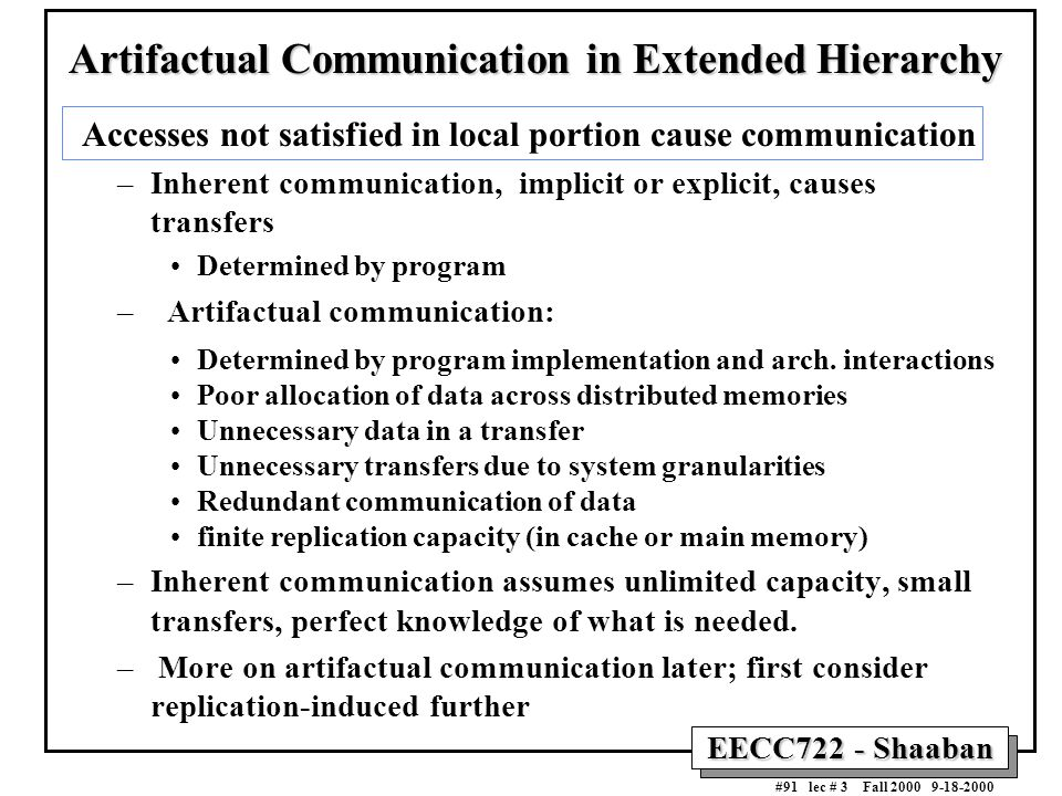 EECC722 - Shaaban #91 lec # 3 Fall 2000 9-18-2000 Artifactual Communication in Extended Hierarchy Accesses not satisfied in local portion cause commun