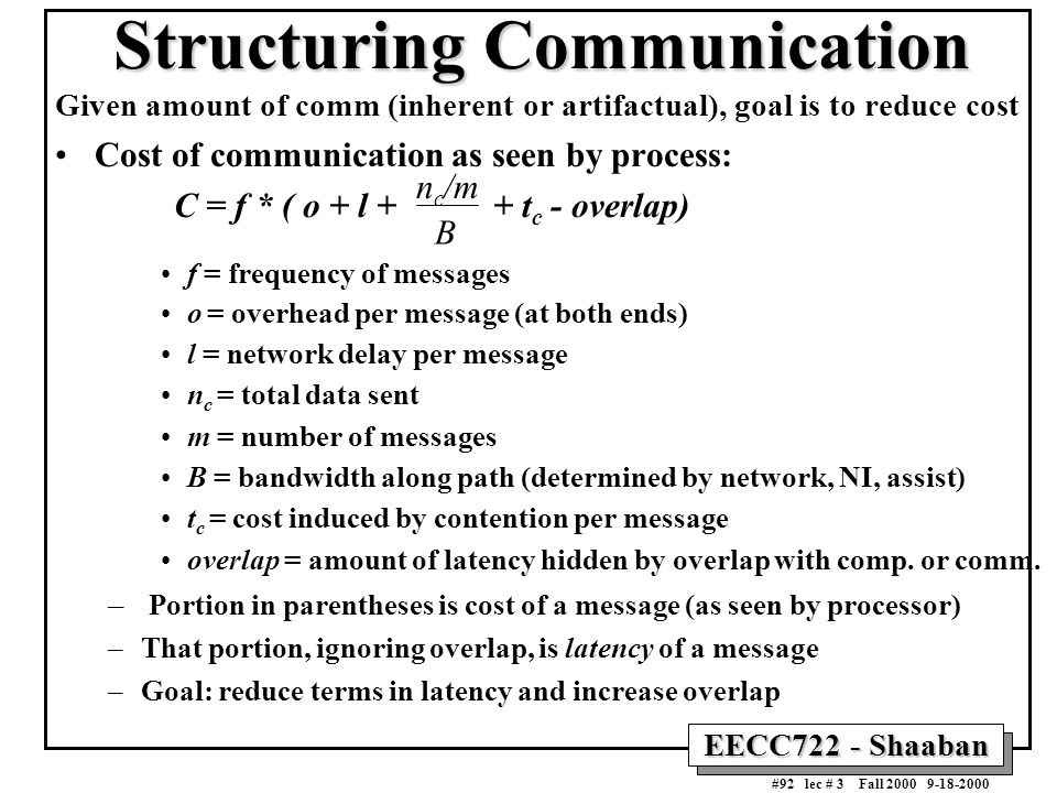 EECC722 - Shaaban #92 lec # 3 Fall 2000 9-18-2000 Structuring Communication Given amount of comm (inherent or artifactual), goal is to reduce cost Cos