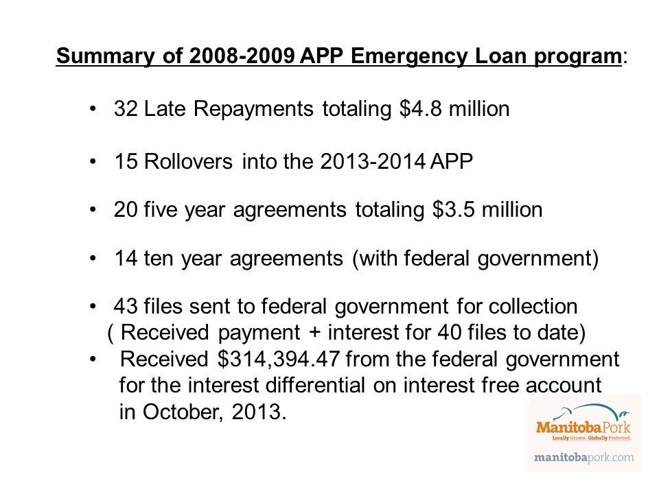 Summary of 2008-2009 APP Emergency Loan program: 32 Late Repayments totaling $4.8 million 15 Rollovers into the 2013-2014 APP 20 five year agreements totaling $3.5 million 14 ten year agreements (with federal government) 43 files sent to federal government for collection ( Received payment + interest for 40 files to date) Received $314,394.47 from the federal government for the interest differential on interest free account in October, 2013.