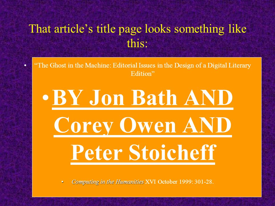 That summer (1997) I hired two graduate students, Jon Bath and Corey Owen, who had been in that class and together we: Gathered the information collec