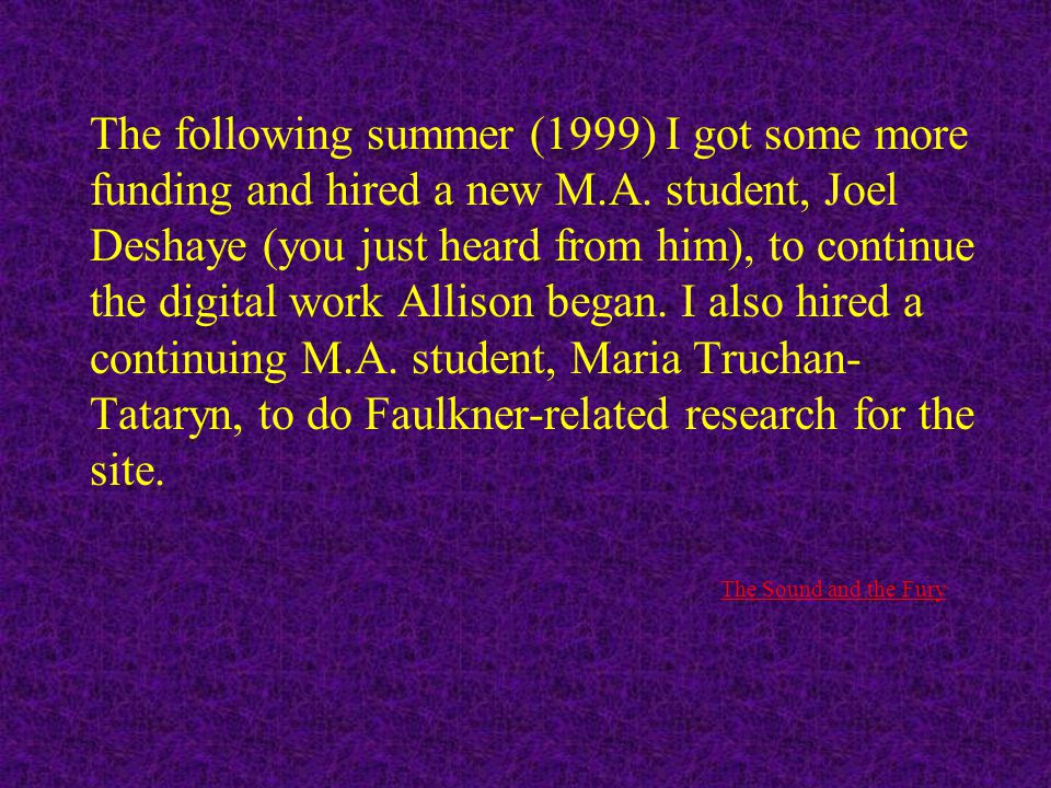 That summer (1998) I got some funding to hire my doctoral student, Allison Muri, to begin programming the design arrived at by the students during the