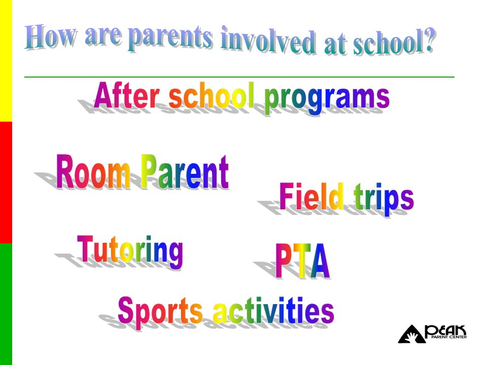 12 Standard 1Communication Standard 2Parenting Skills Standard 3Student Learning Standard 4Volunteering Standard 5School Decision Making and Advocacy Standard 6Collaborating with Community (National PTA, 1997) National PTA