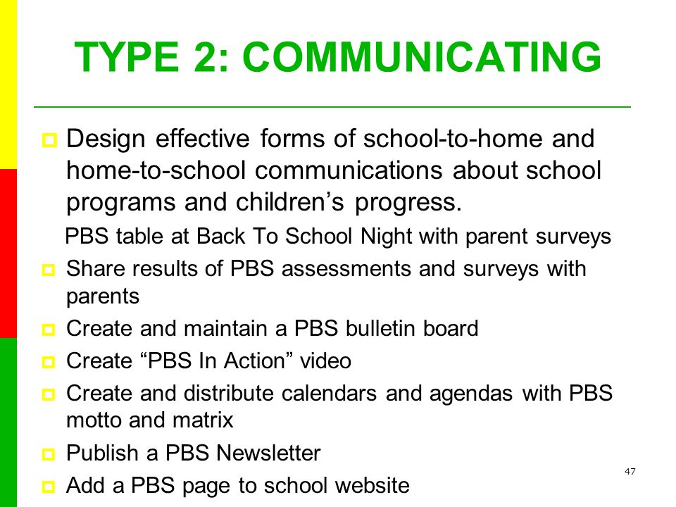 46 TYPE 1:PARENTING Help all families establish home environments to support children as students.