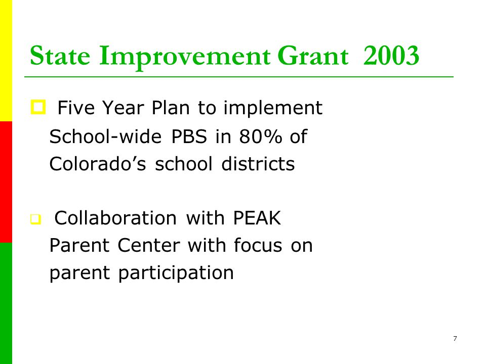 6 Colorado Positive Behavior Support Initiative 2002  CDE identified 2 school districts as pilot sites  16 school sites  3 PBS Coaches  2 regions in Colorado: Denver and Colorado Springs